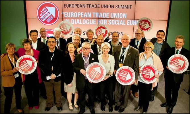 European trade union leaders at the ETUC Trade Union Summit. Photo: ETUC