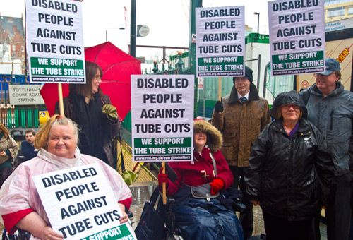 TUC Disabled Workers Committee members showing solidarity with RMT/TSSA dispute