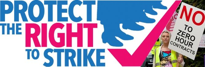 Protect the right to strike  - banner