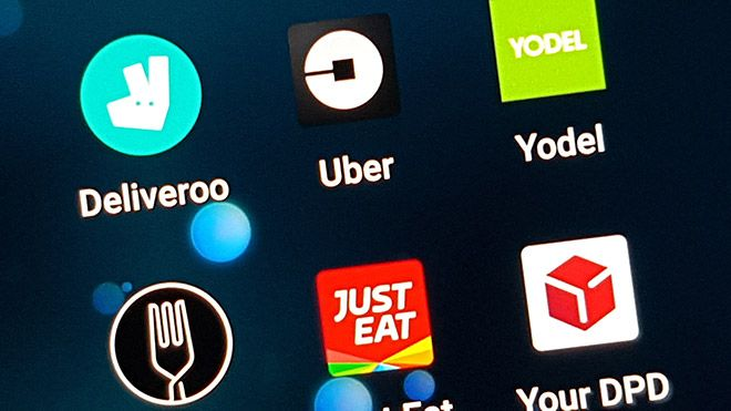 Image of smartphone apps relating to the gig economy