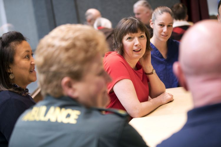 Photo of Frances O'Grady meeting with NHS workers