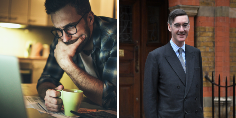 A worried worker on the left and Jacob-Rees Mogg on the right