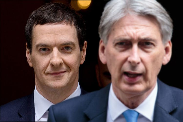 Image of Philip Hammond superimposed in front of an image of George Osborne