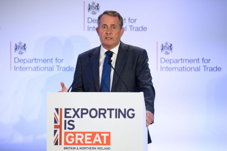 International Trade Secretary Liam Fox delivers a speech on the future of exports from the UK after Brexit, on August 21, 2018