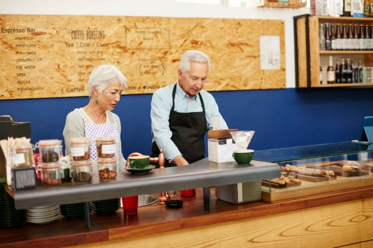 A senior couple running a small business together