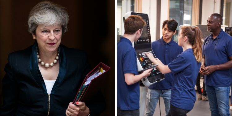 Prime Minister Theresa May on the left; workers on the right