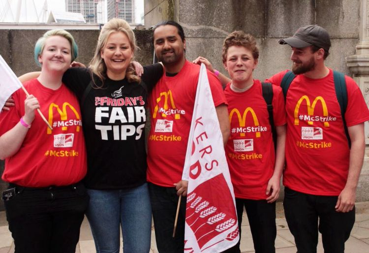 McDonalds and TGI Friday's young workers on strike
