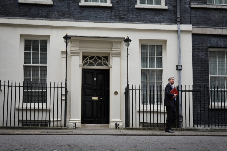 Philip Hammond leaving Downing Street