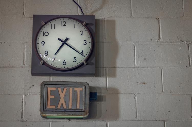 Clock on a block wall