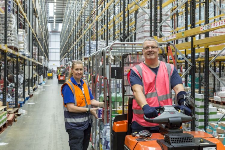 Two warehouse workers