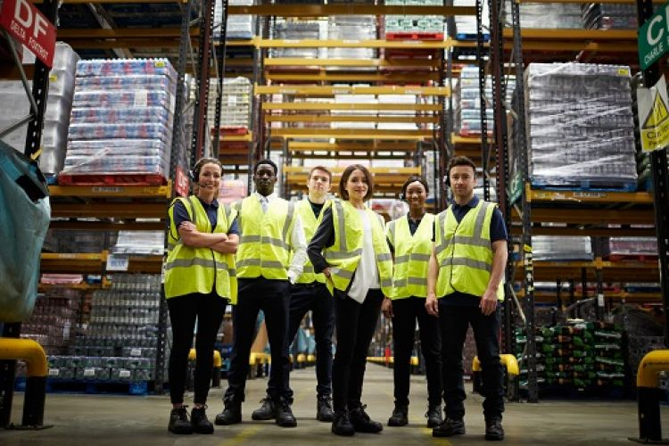 A group of young factory workers