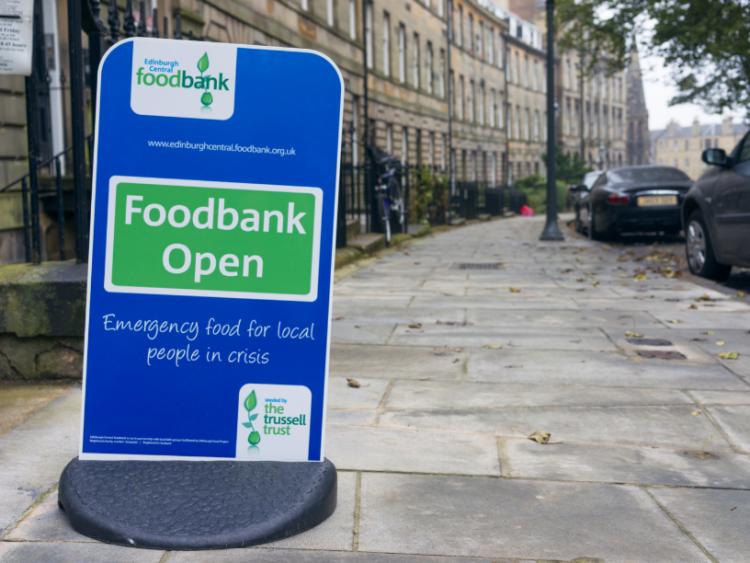 A food bank sign