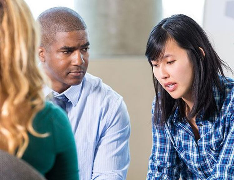 Workers in counselling discussion