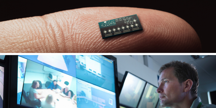 A finger with a microchip and a man watching a screen_Credit: Getty