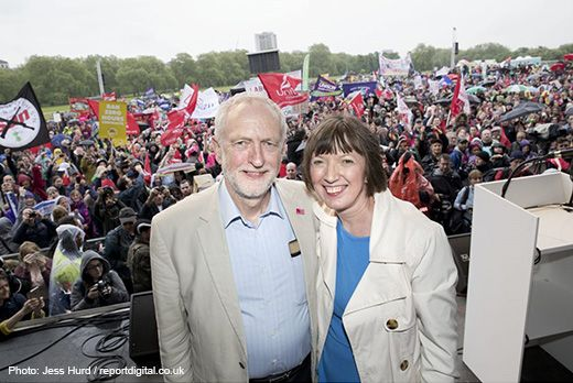 Frances O'Grady and Jeremy Corbyn at the New Deal rally. Photo Jess Hurd / reportdigital.co.uk